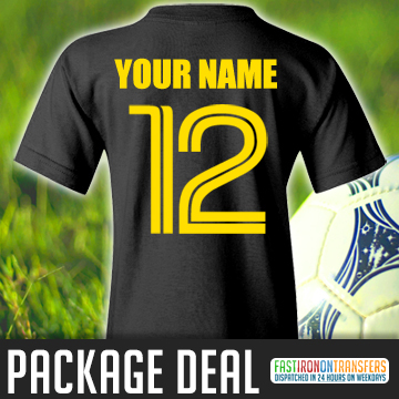 iron on name and football number package