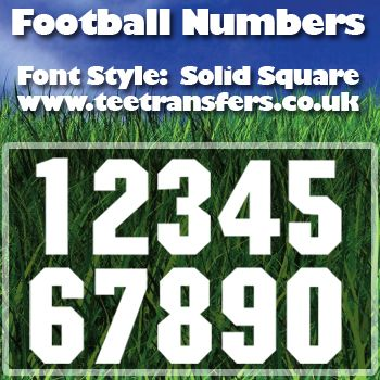 Single Football Numbers Solid Square Font Iron on Decal