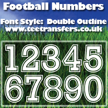 Single Football Numbers Double Outline Font Iron on Decal