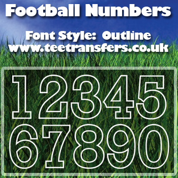 Single Football Numbers Outline Font Iron on Decal