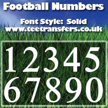 Single Numbers Solid Font Iron on Decal