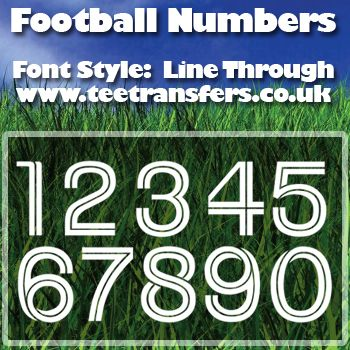 Single Football Numbers Line Through Font Iron on Decal