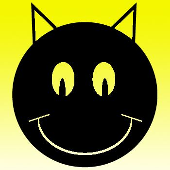 Smiley 10 Black Cat Iron on Decal