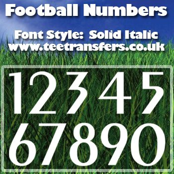 Single Football Numbers Solid Italic Font Iron on Decal