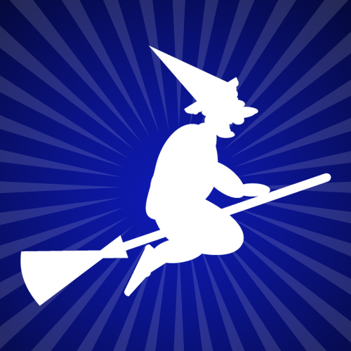 Flying Witch on Broomstick Iron on Decal